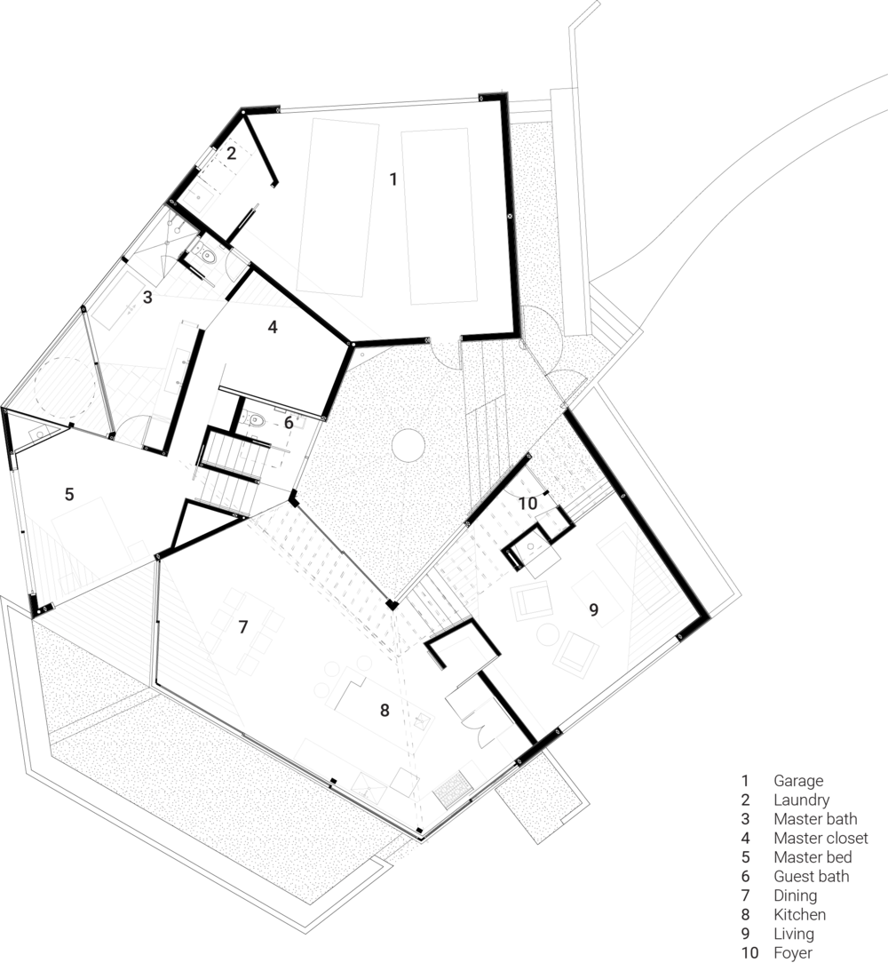 Main level plan with program