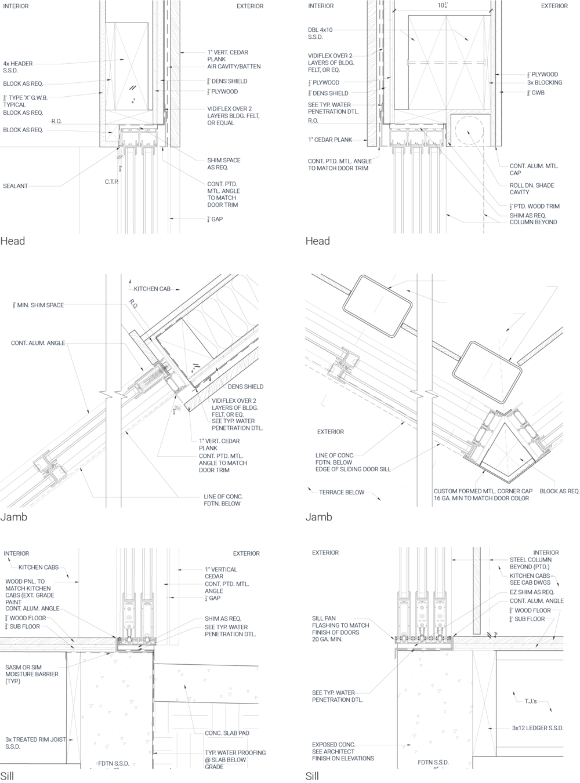 Details for southeast (L) and southwest (R) sliding doors at kitchen