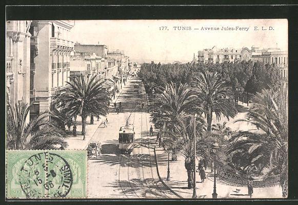 "Figure 1: ""AK Tunis, Avenue Jules-Ferry, Strassenbahn.""  Bartko Reher Antiques , www.ak-ansichtskarten.de/ak/90-Alte-Ansichtskarte/31657-Tunis/7589423-AK-Tunis-Avenue-Jules-Ferry-Strassenbahn."