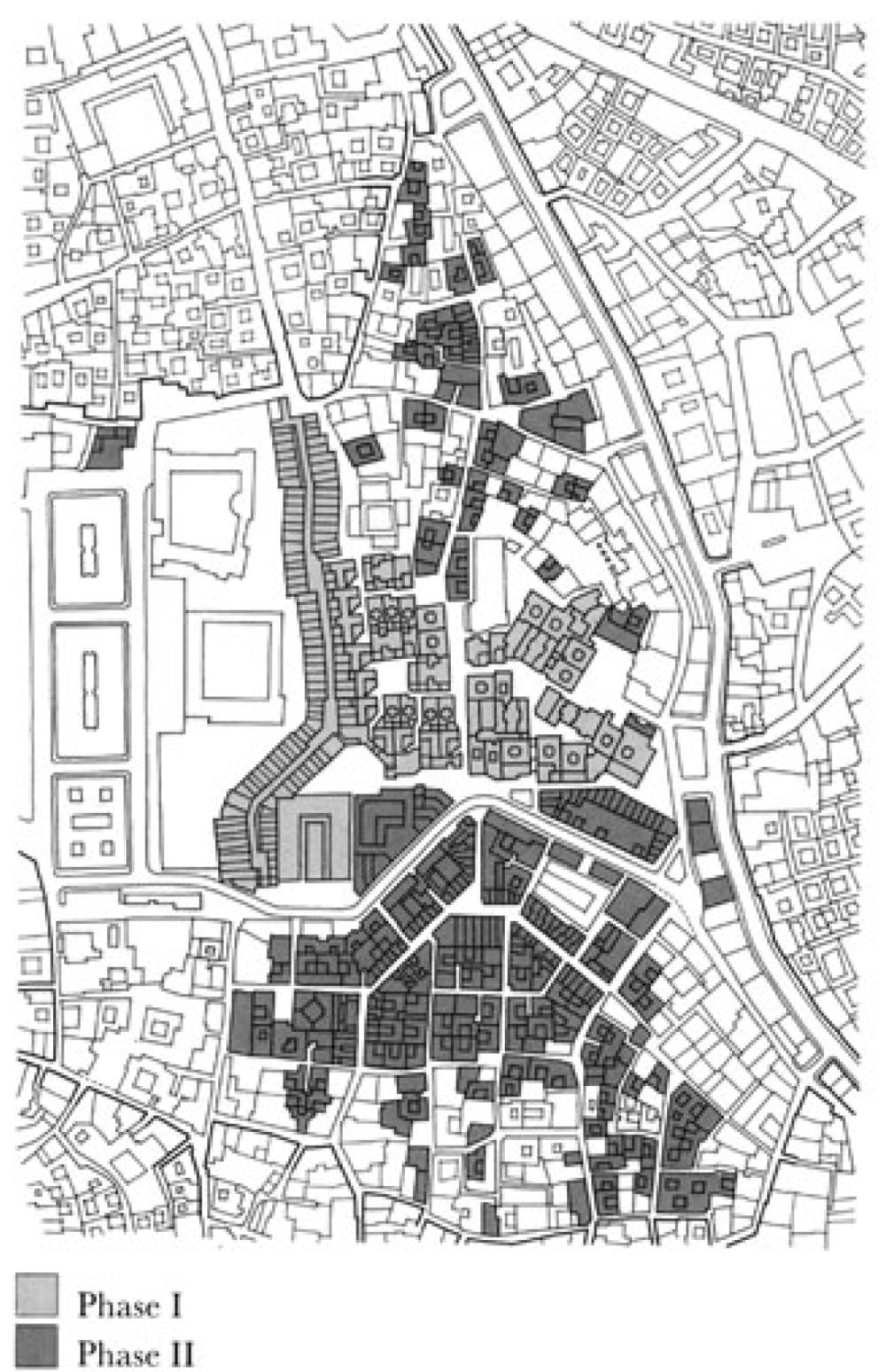 "Figure 5: Association de Sauvegarde de la Médina. ""Reconstruction of Hafsia Quarter II.""  Reconstruction of Hafsia Quarter II . The Aga Khan Award for Architecture. 50"