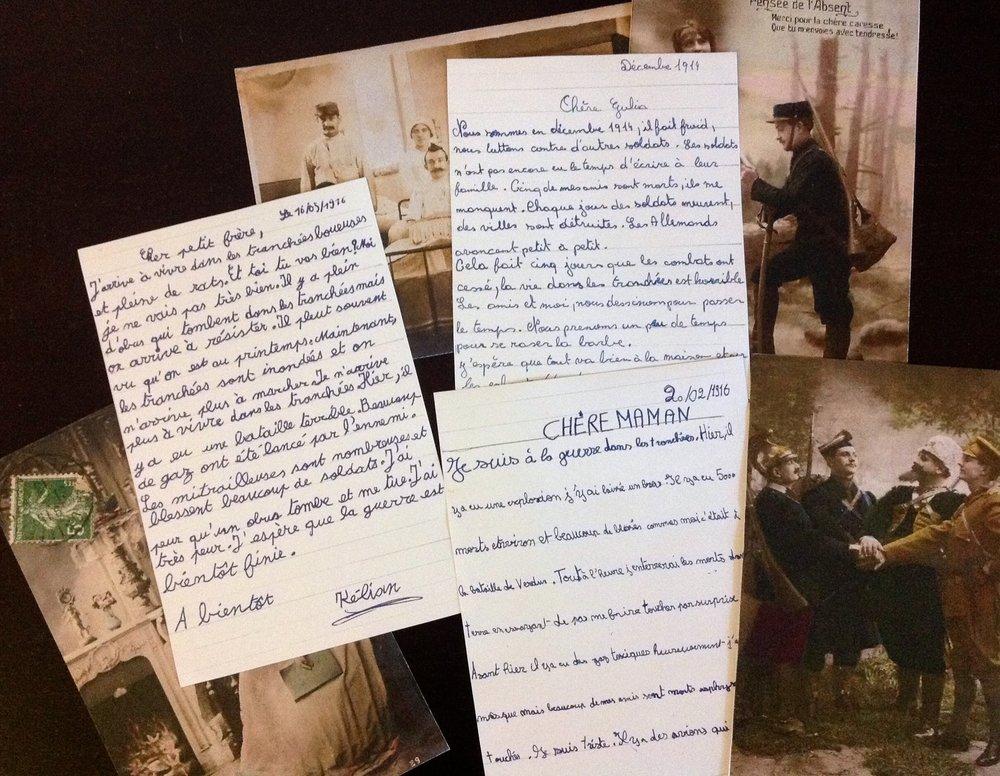Projet Correspondance pendant la guerre 1914-1918 mené dans 4 écoles primaires de la commune d'Auderghem du printemps 2016 à l'automne 2018 en partenariat avec la bibliothèque communale.