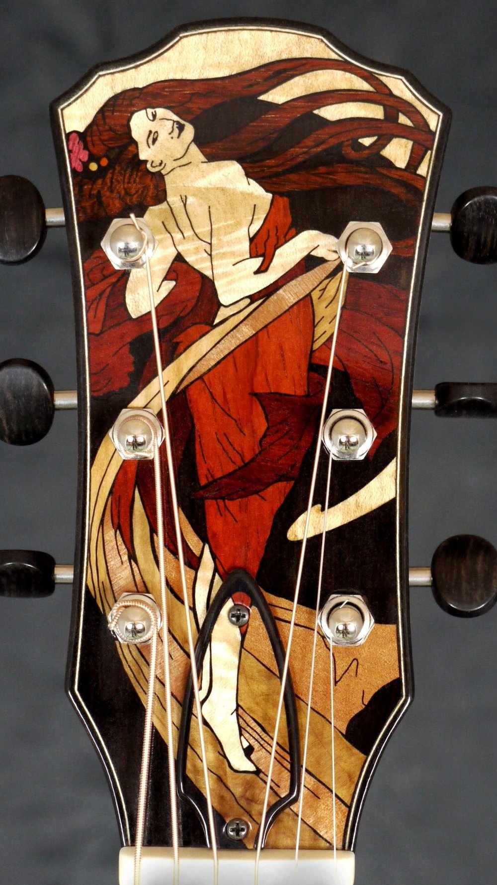 ALPHONSE MUCHA DANCE HEADSTOCK INLAY