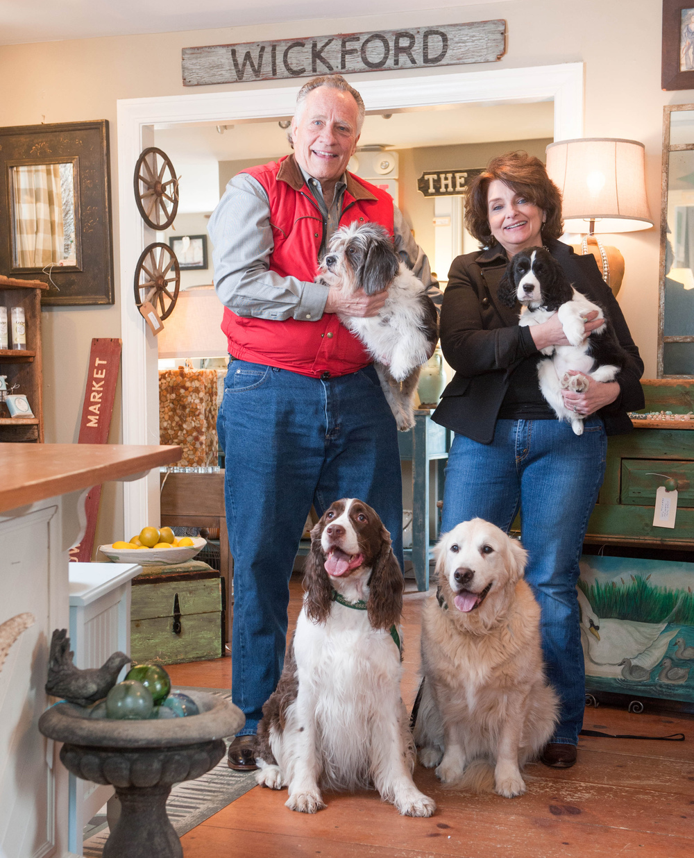 Deb and Toby the owners of The Wickford Collection, pose in their shop in Wickford, RI