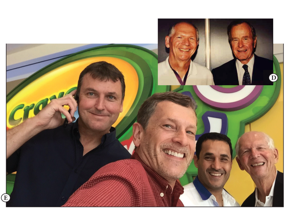 D. With US President George Bush  E. With Dr. Rich Melheim, founder of RICH Learning Global, Paul Zadorsky, SVP of Crayola International, Hany Wadie Assad, UN Goodwill Ambassador