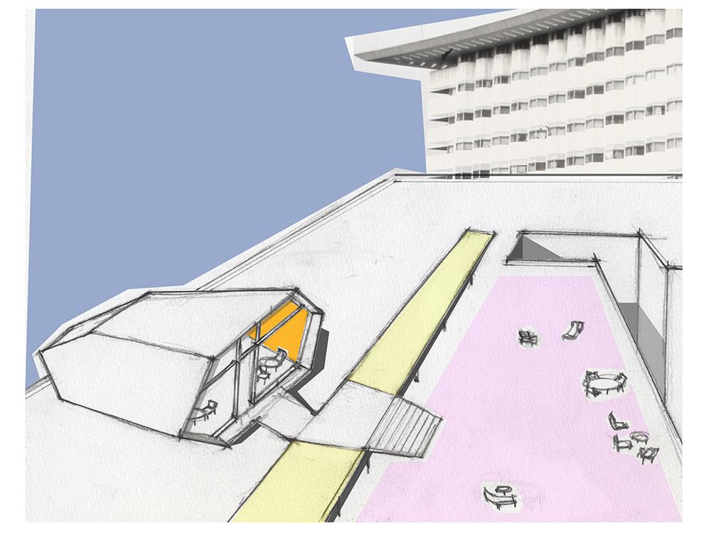 ACHA, Avari, Lahore, Hotel,Sketch, Concept, Collage