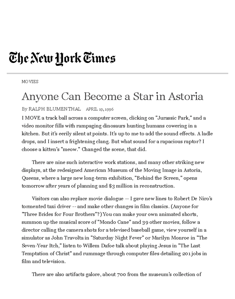 The New York Times, Ali Hocek, Anyone Can Become A Star in Astoria, Museum of Moving Images