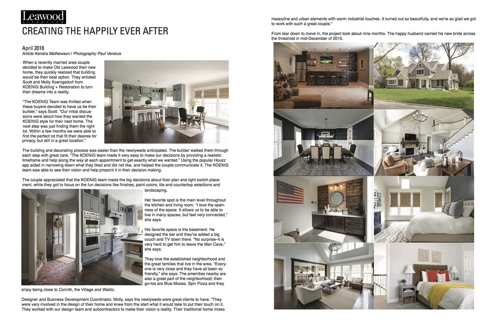 Leawood Lifestyle Magazine Feature April 2016
