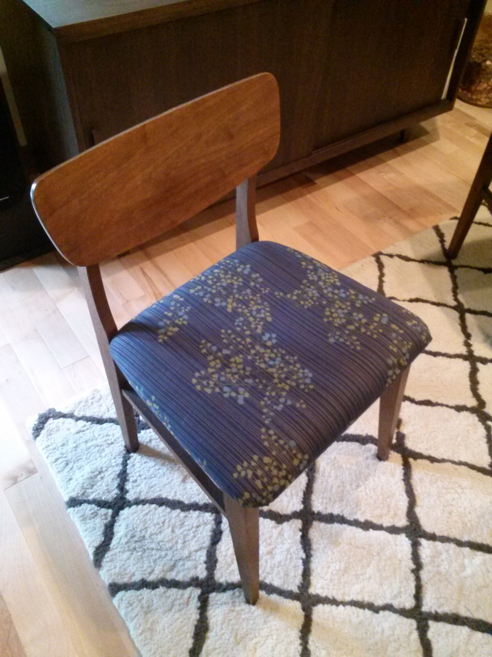 re-covered vintage chair