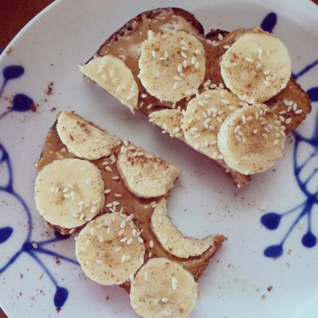 Pregnancy hunger is real | PB/banana toast with cinnamon and sesame seeds