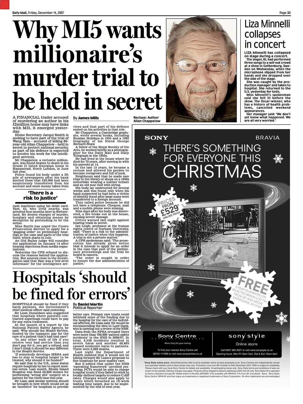 Daily Mail 14 December 2007
