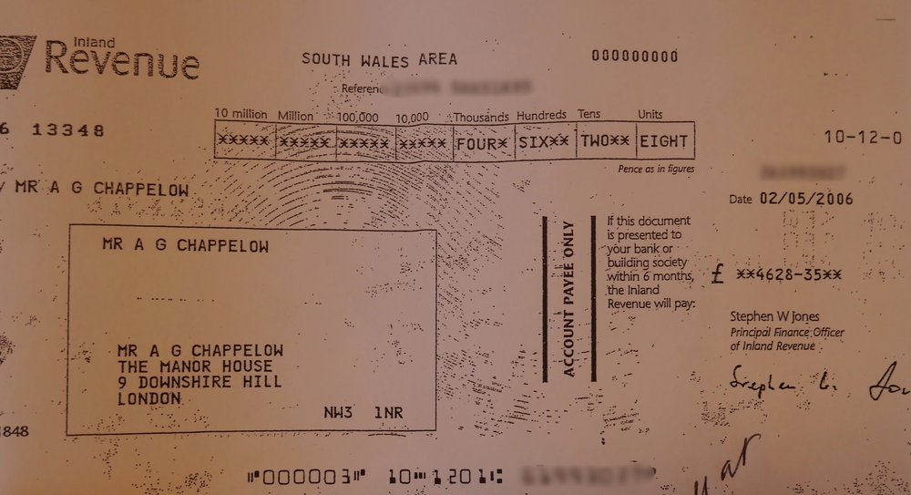 HRMC cheque