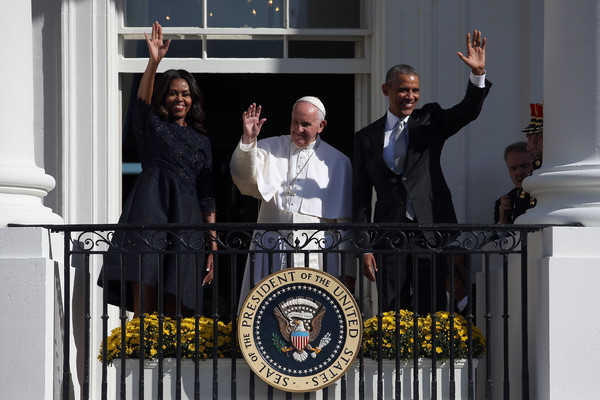 Monique Lhuillier  Pope Francis arrival, Washington DC - September 23, 2015