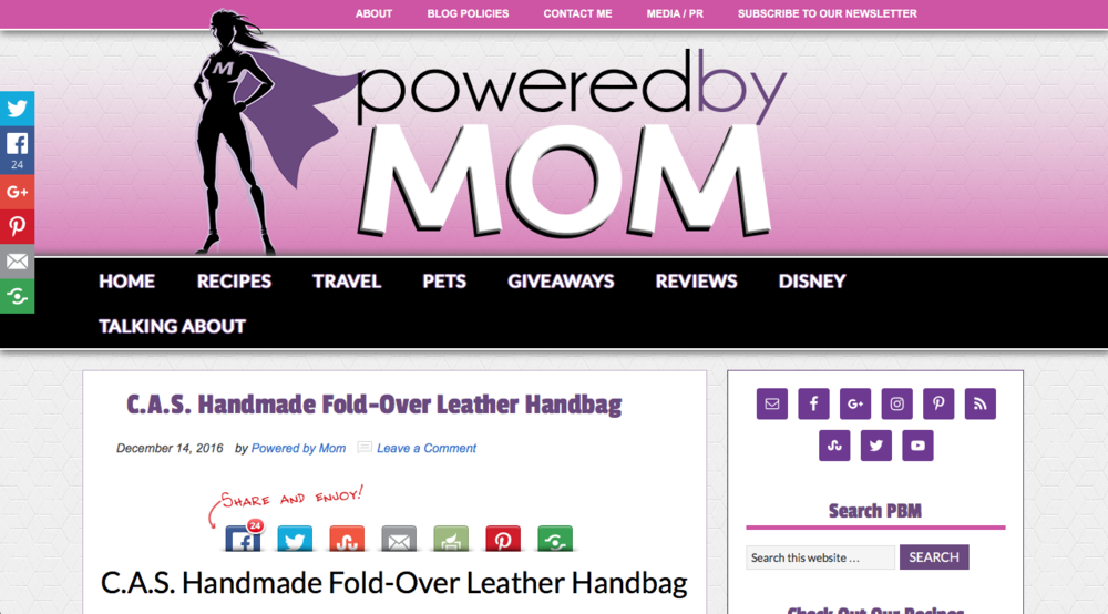 Powered By Mom -   C.A.S. Handmade Fold-Over Leather Handbag, 12/14/17