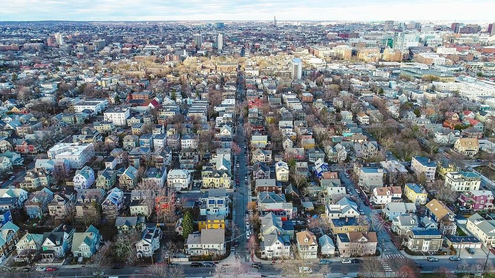 Cambridgeport from 400ft.   #aerial #landscape #cityscape #city #colors #colorful #houses #grid #cambridge #cambridgeport #newengland #massachusetts #spring