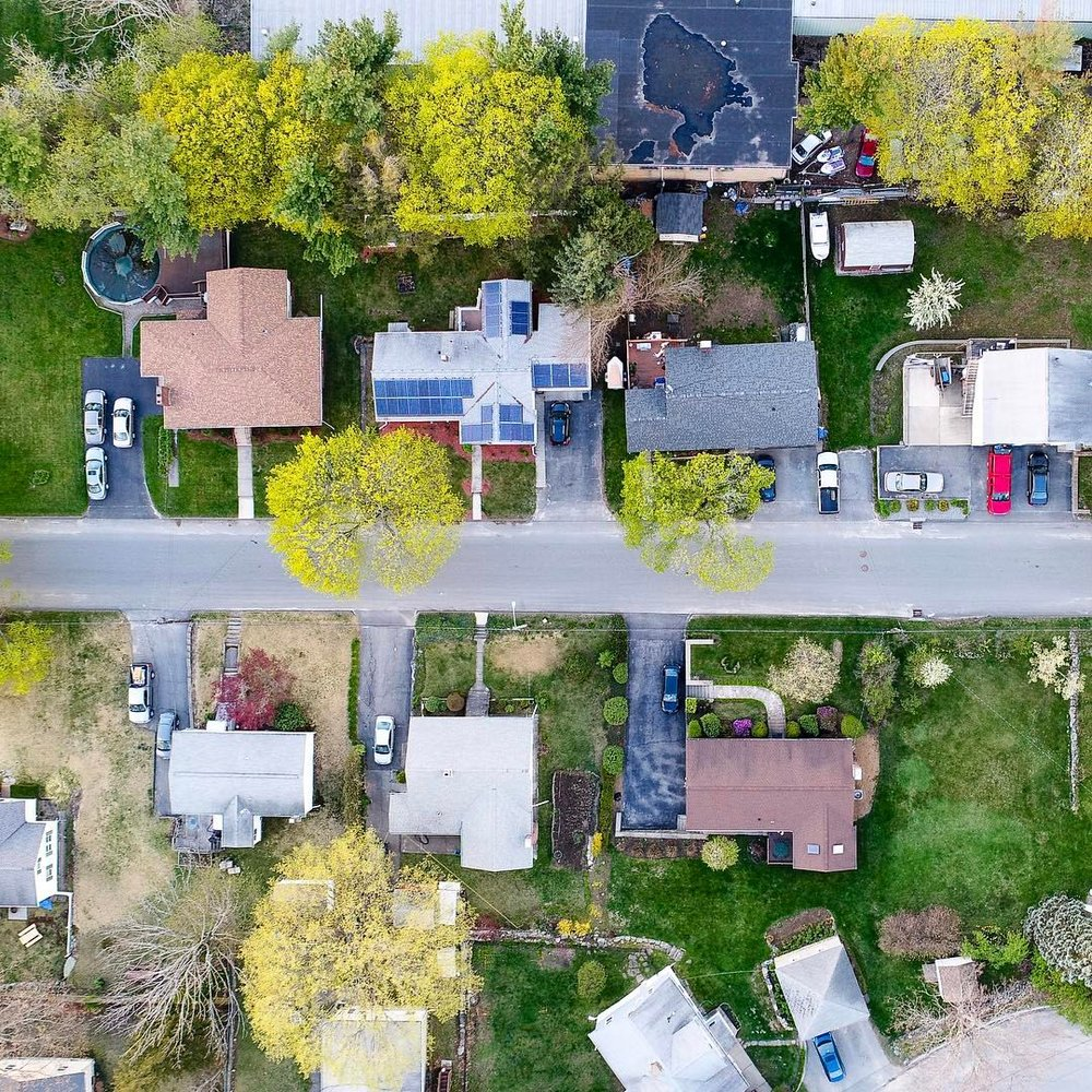 Would you be my neighbor?   #aerial #landscape #street #city #colors #colorful #houses #worcester #newengland #neighborhood #spring #massachusetts #green #grass #notmyactualhouse