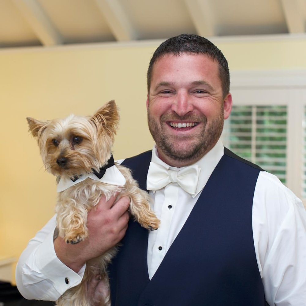 A groom and his dog. (My favorite photo from last weekend's wedding)  #wedding #groom #dog #portrait #smile #bowtie #happiness