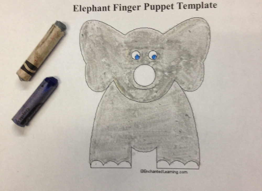 Make your own elephant finger puppet puppet showplace theater color in the elephant maxwellsz