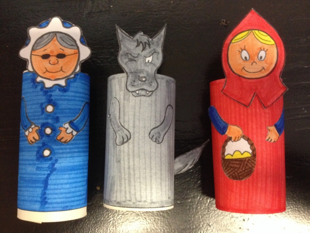Make your own little red riding hood puppets puppet for Toilet roll puppets