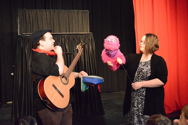 Brenda Huggins and Phil Berman with  Bella Monster  in Puppet Playtime.