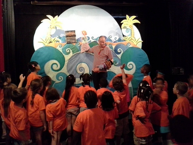 Crabgrass Puppet Theatre performing for a local school group at Puppet Showplace Theater!