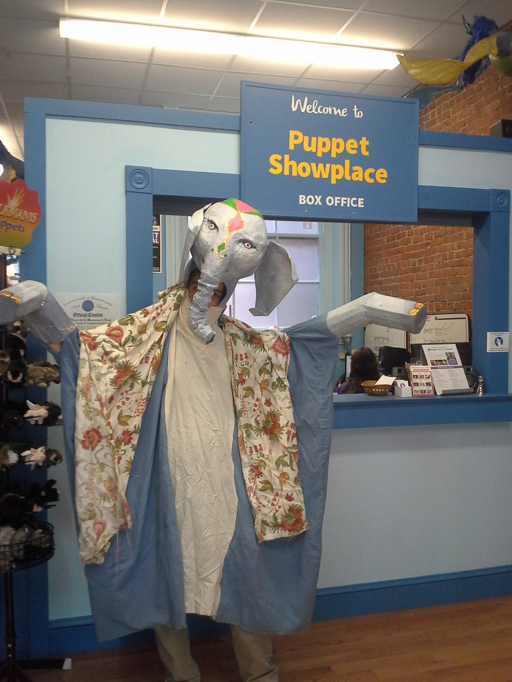 I very quickly got into the swing of things here- this is me inside a giant elephant puppet...
