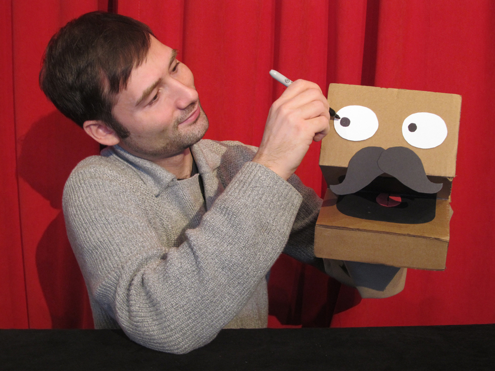 Brad and one of many cardboard puppets!