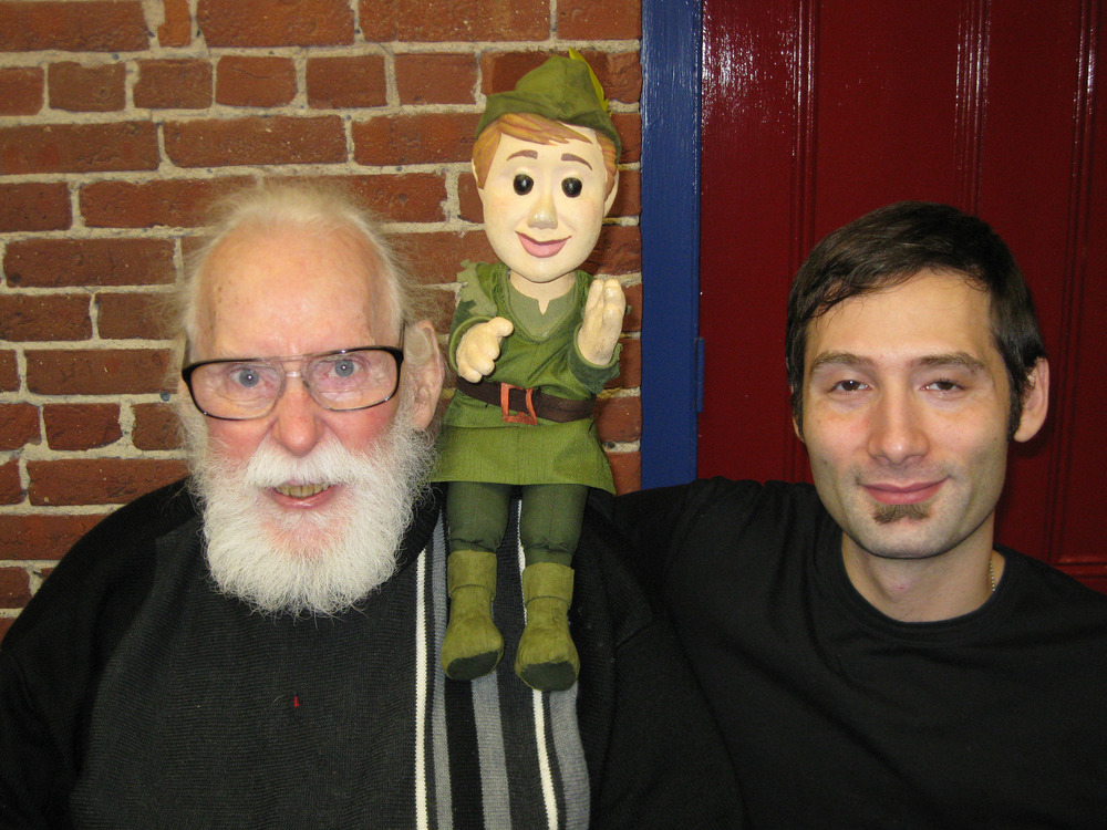 Paul Vincent Davis, Robin Hood Glove puppet, and Brad Shur