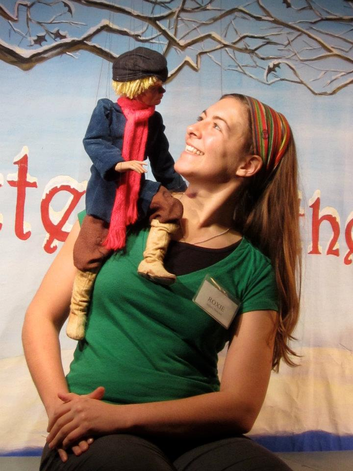 "Artistic Director, Roxie Myhrum with Peter from ""Peter and the Wolf"" by National Marionette Theatre."