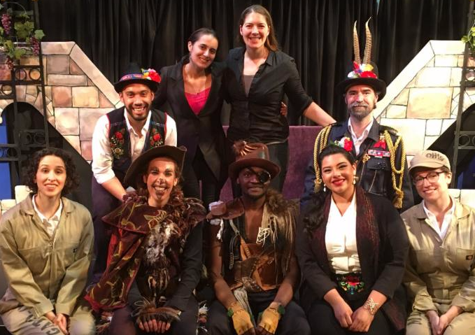 Artistic Director Roxie Myhrum with the cast of El Gato con Botas.