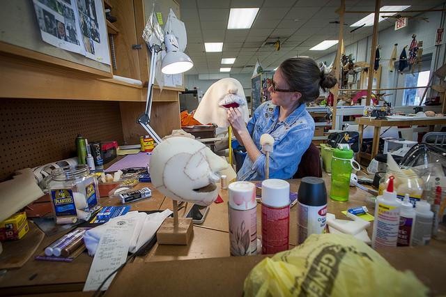 Teacher Sarah Nolen Sculpting Puppet Face