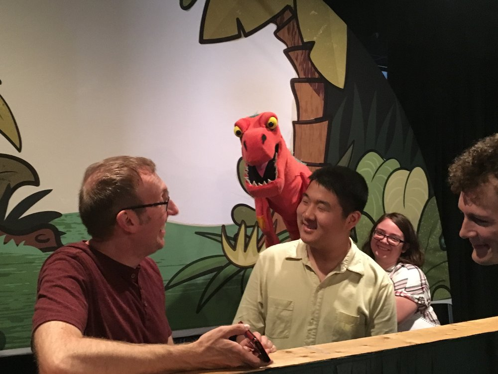 Me and T-Rex behind the scenes with Mike Horner of Mesner Puppet Theatre.