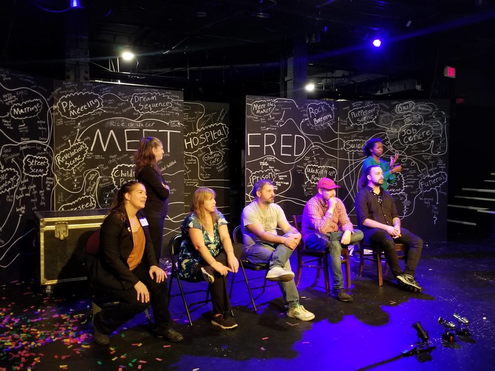"Arts connect people of all abilities! Artistic Director Roxie and special guest Nick Gallop of the Asperger Autism Network with the cast of Hijinx Theatre of Wales at an ASL-interpreted talkback for ""Meet Fred"" at the Boston Center for the Arts."