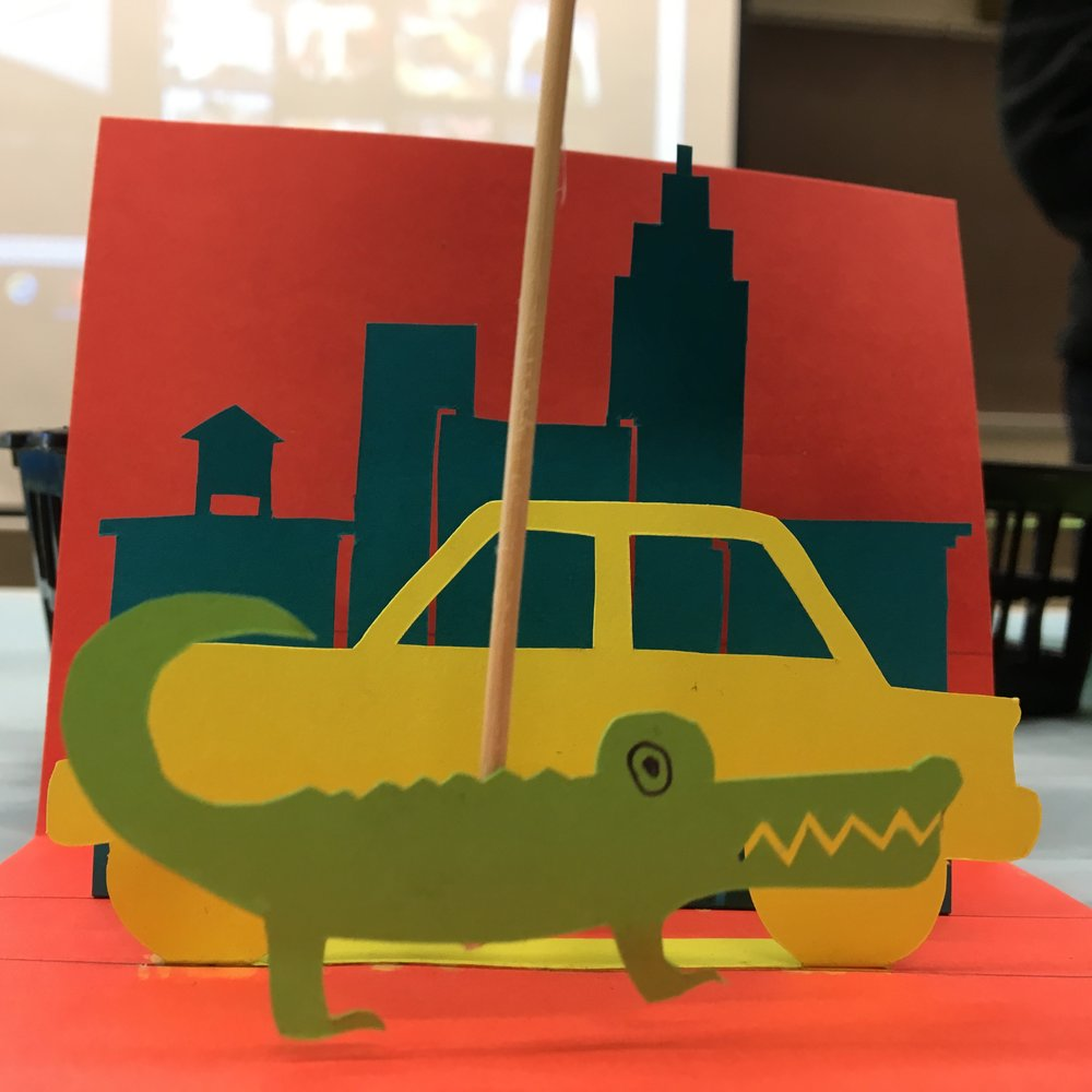Alligator and car pop-up puppet