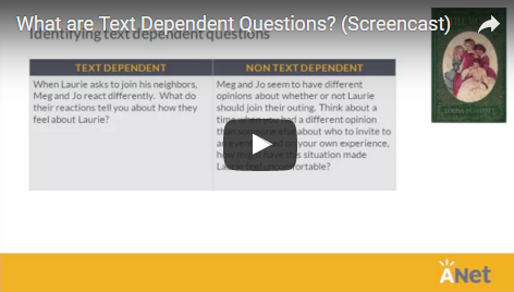 What are text dependent questions? screencast