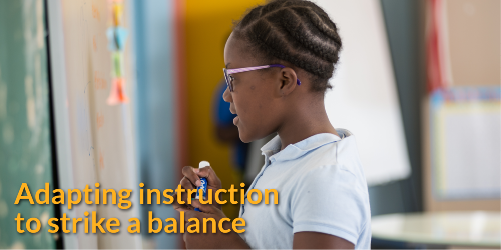 Adapting instruction to strike a balance