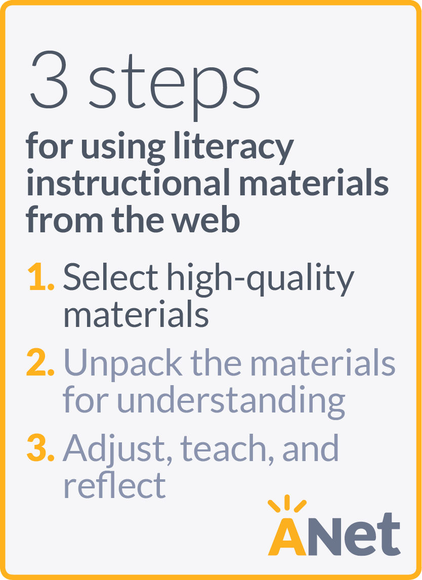 1. Select high-quality materials 2. Unpack the materials for understanding 3. Adjust, teach, and reflect