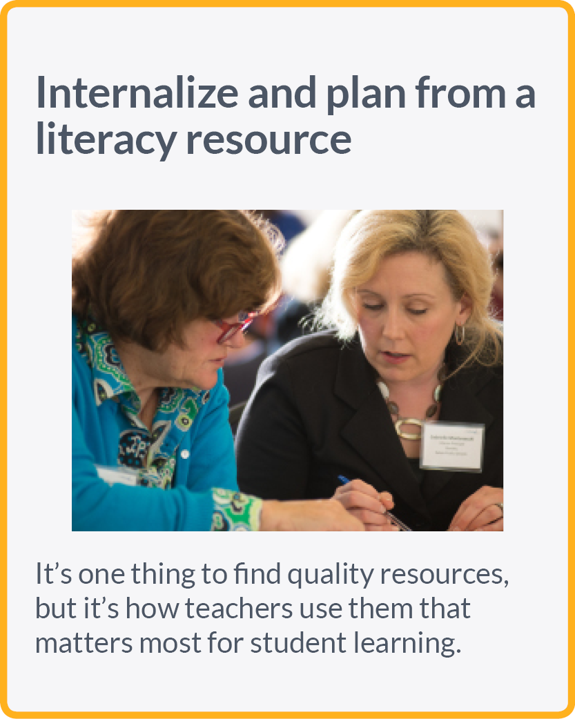 Internalize and plan from a literacy resource