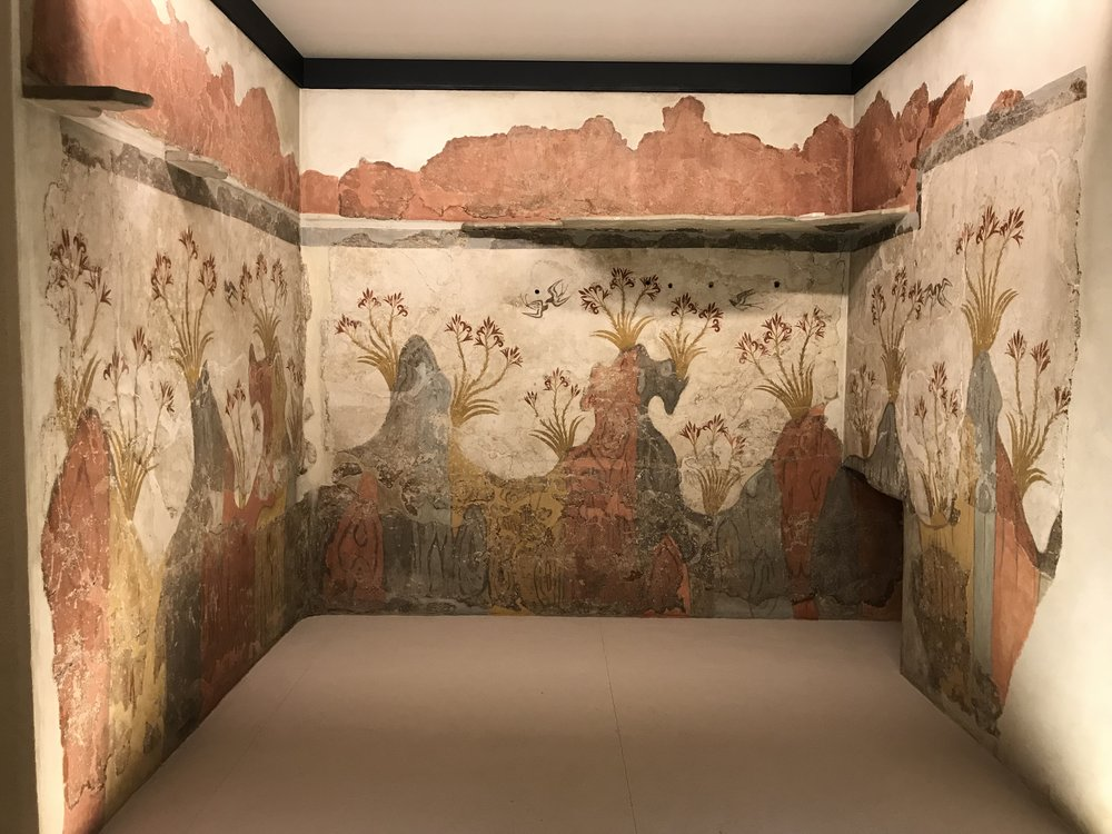 A three thousand-year-old mural preserved by ash from the volcano that consumed its makers.