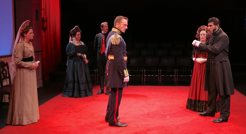 From right to left, the Shakespearean cast of  Pushkin : Ian Lassiter as Pushkin with Jenny Leona as his wife Natalya. Gene Gillettte as Tsar Nicholas I.Christopher Kelly as Count D'Anthes with Tracy Sallows as Pushkin's mother-in-law, who doubles brilliantly as his housemaid. Lexi Lapp as Alexandra, Natalya's single older sister.