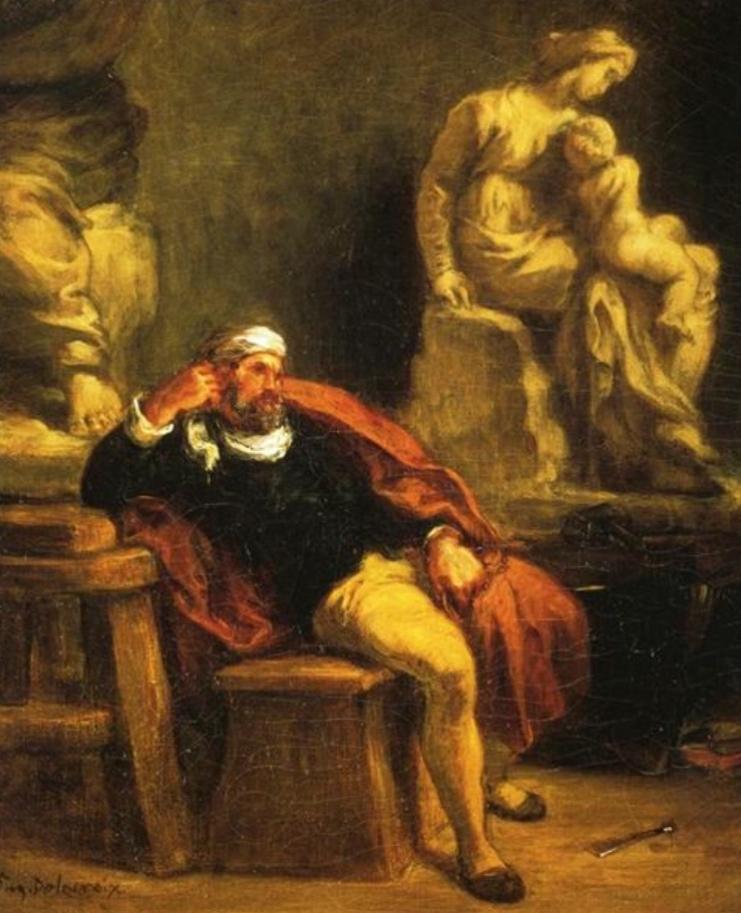 """Delacroix's """"Michelangelo in His Studio,"""" 1849-50, Musée Fabre, Montpellier Méditerranée Métropole."""