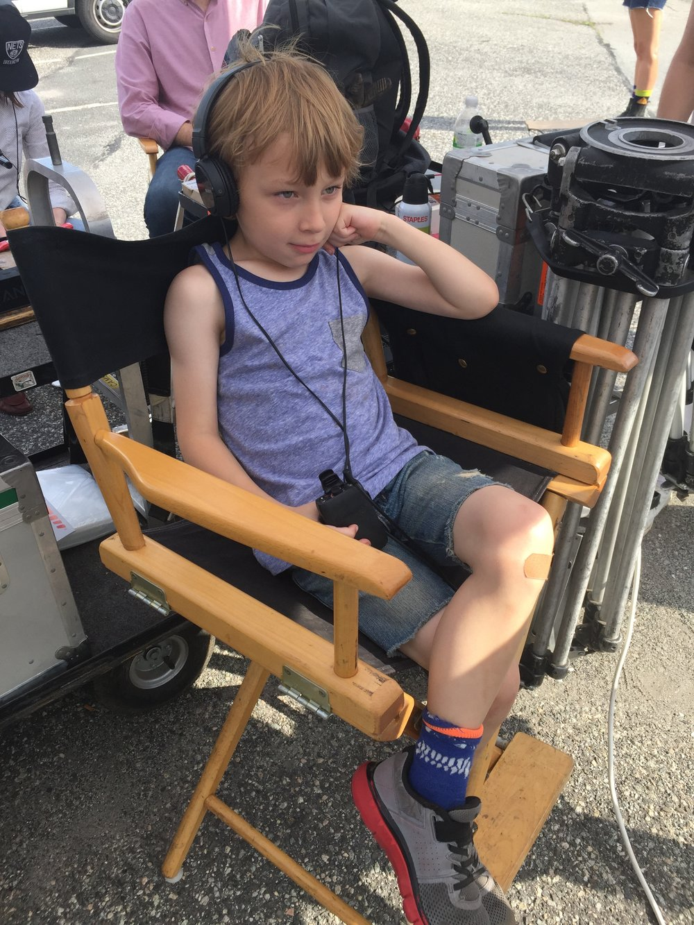 """William on the Staten Island set of  To Dust , """"guest directing"""" part of the road-trip scene. 2017."""