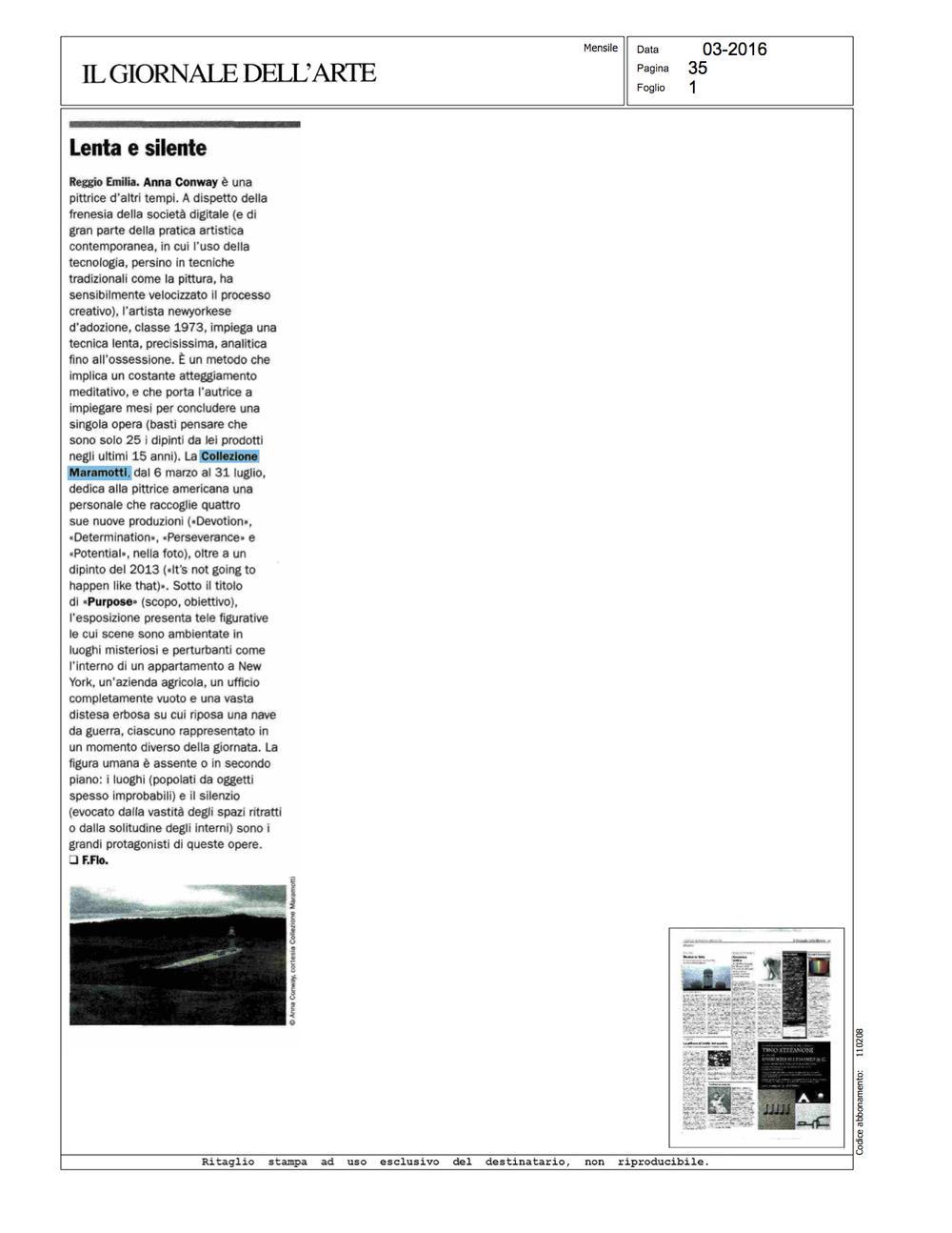 Il Giornale Dell'Arte, March 2016