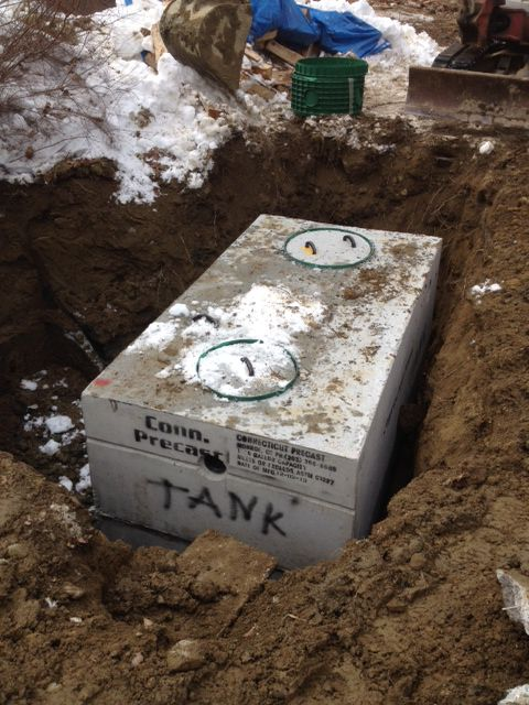 New style concrete 2 compartment tank.