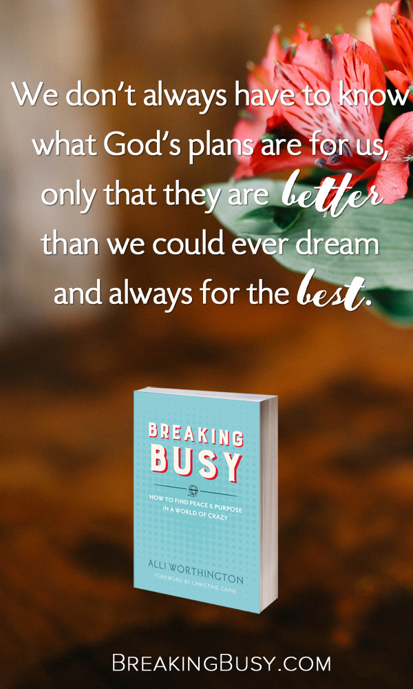 Breaking Busy Book. We don't always have to know  what God's plans are for us,   only that they are better  than we could ever dream  and always for the best.. from Alli Worthington..jpg