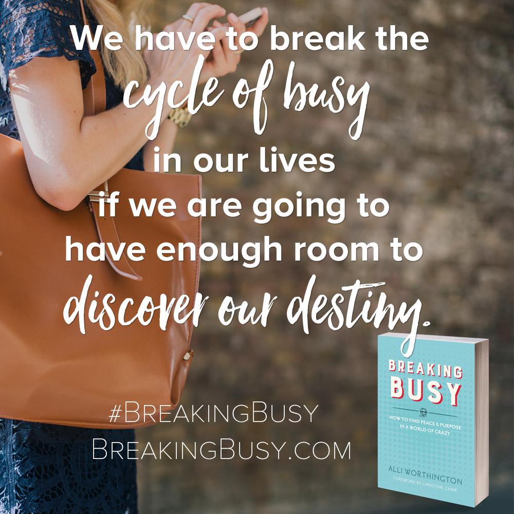 Breaking Busy Book. We have to break the cycle of busy in our lives if we are going to have enough room to discover our destiny.by Alli Worthington.jpg