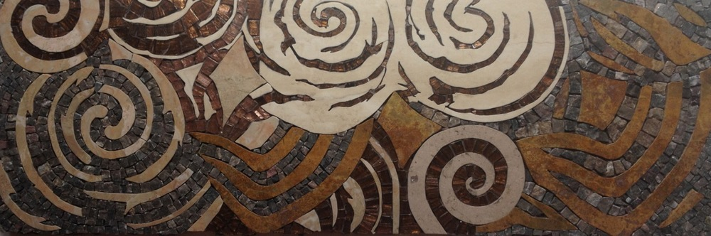 "© 2014 Julie Richey Mosaics, LLC New Grange II 8""h x 23.25""w  Natural stone and glass  $1150"