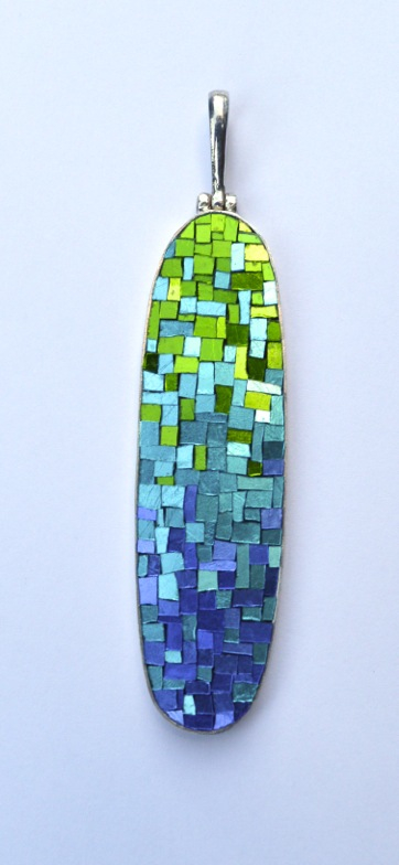 © 2014 Margo Anton,Into the Deep,65mm x 20mm, Orsoni Mosaic gold in sterling silver with silver chain $275