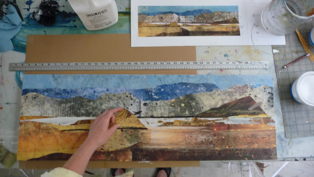 Adding final elements to the piece.