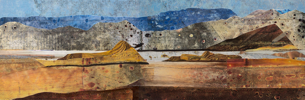 Gold Basin, 12 x 36 inches, mixed media on panel. ©2014 Sarah Winkler