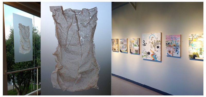 The delicate paper form sculptures of Diana Hobson on the left and the paintings of Bob Stang on the right.